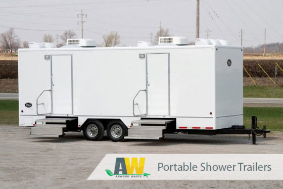 Portable Shower Trailer Product Guide | Portable Shower Trailer Rentals from Arwood Waste